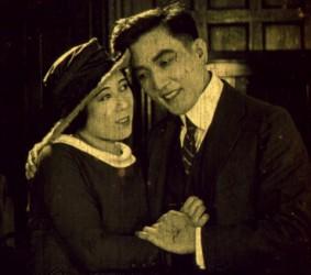 Tsuru Aoki and her husband Sessue Hayakawa in Courageous Coward (1919)